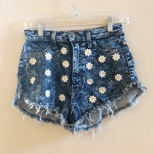 Vibrant Jean Shorts with Daisies